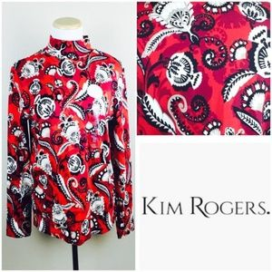 Kim Rogers Red Floral Mock Neck Long Sleeve Top
